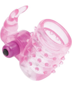 Basic Essentials Stretchy Vibrating Bunny Enhancer Cock Ring With Clitoral Stimulation - Pink