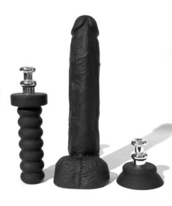 Boneyard Silicone Tool Kit Dildo With Balls 10in With Attachments (3 Per Set) - Black