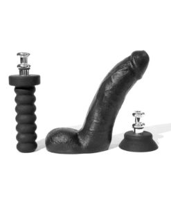 Boneyard Silicone Tool Kit Dildo With Balls 8in With Attachments (3 Per Set) - Black