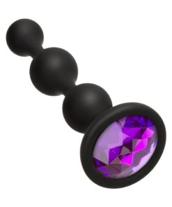 Booty Bling Jeweled Silicone Anal Beads - Purple