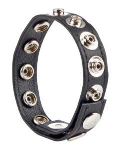 COLT Leather C/B Strap Adjustable 8 Snap Cock Ring - Black