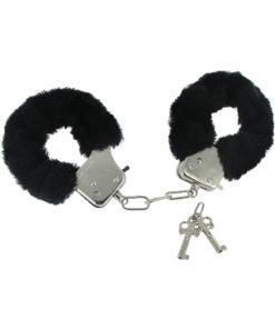 Frisky Caught In Candy Black Furry Cuffs - Black