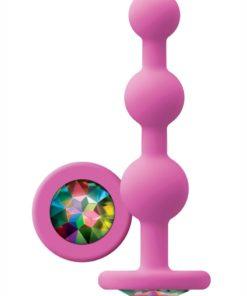 Glams Ripple Silicone Plug Rainbow Gem 4.49in - Pink