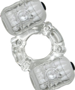 Hero Double Pleaser Teaser Vibrating Cock Ring - Clear