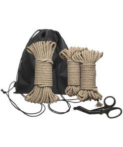 Kink Bind and Tie Initiation Hemp Rope (5 Piece Kit) - Natural