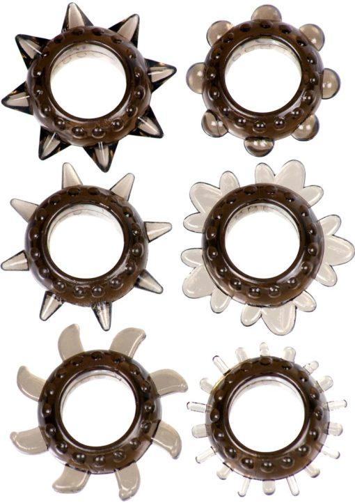 Link Tickler Ring Set Assorted Textured Cockrings (6 Pack) - Smoke