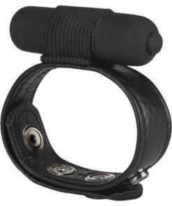 Macho Snap On Vibro Vibrating Cock And Ball Strap Adjustable - Black