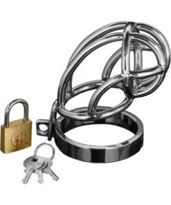 Master Series Captus Locking Chastity Cage - Silver