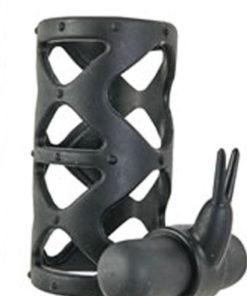 Maxx Gear Silicone Rabbit Sleeve Vibrating Cock Sleeve - Black