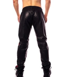 Prowler Red Leather Joggers - Large - Black/Red