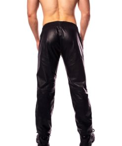 Prowler Red Leather Joggers - Small - Black/White