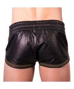 Prowler Red Leather Sport Shorts - Large - Black/Green