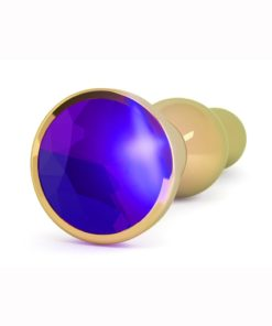 Rich R4 Butt Plug With Sparkling Sapphire - 4.8 in - Gold