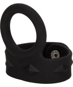 Silicone Tri-Snap Scrotum Support Cock Ring - Medium - Black