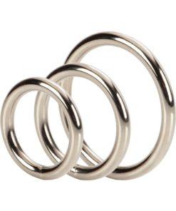 Silver Cock Rings (3 Piece Set) - Silver