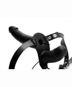 Strap U Power Pegger Silicone Vibrating Double Pleasure 6.5in Dildo with Harness - Black