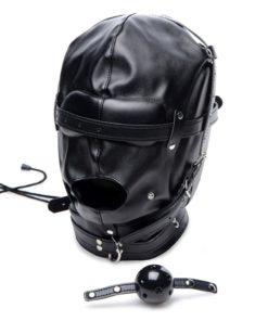 Strict Bondage Hood with Breathable Ball Gag - Black