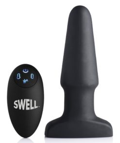 Swell Inflatable Rechargeable Silicone Vibrating Anal Plug - Black