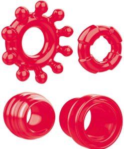 Zero Tolerance Ring the Alarm 4 Piece Cock Ring Kit - Red